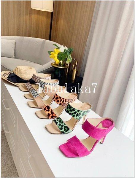 2020 Дизайнер женских тапочек квадрат обувь наппа Lambskin женщины тапочек сандалия роскошь леди Свадьба леди высоких каблуков высоких пятки фото