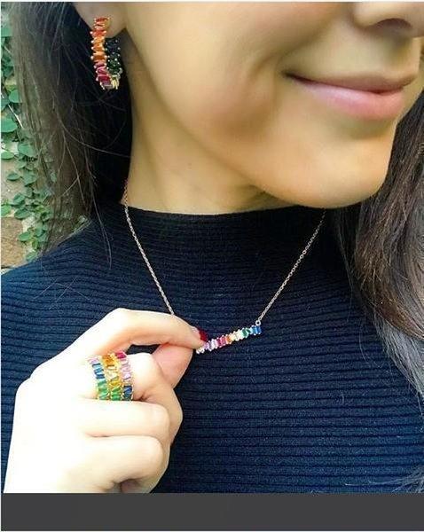 2018 моды радуги ювелирных позолоченный красочный кубический цирконий модный gorgous женщин комплект ювелирных изделий багета CZ серьги ожерелье кольцо комплект фото