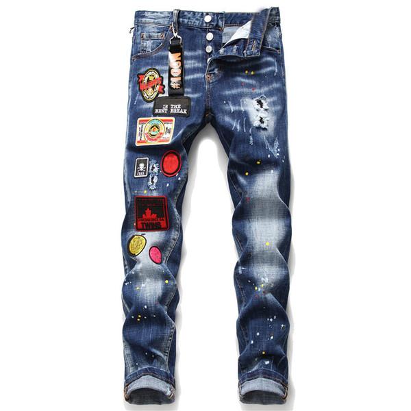 Unique Mens Badge Blue Slim Fit Jeans Fashion Designer Skinny Washed Motocycle Denim Pants Panelled Hip Hop Biker Trousers 10059