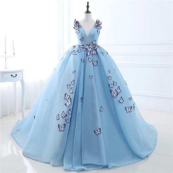 2019 Новые Light Blue Quinceanera платья бабочки Аппликации На складе 100% Real Photo Long Formal Prom Вечер фото