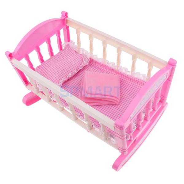 Принцесса колыбели кровать кукольный домик мебель декор для 9-11 дюймов девочка ку фото