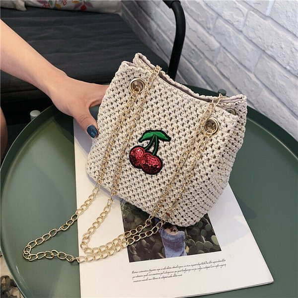 2019 women shoulder bag straw rattan woven squine cheery chain messenger handbag girl summer beach travel party purse (498673924) photo