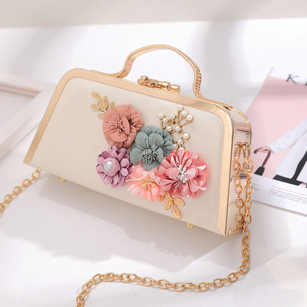 3d flower women evening bag floral metal frame chain clutch small girl shoulder messenger handbag party wedding purse (458177828) photo
