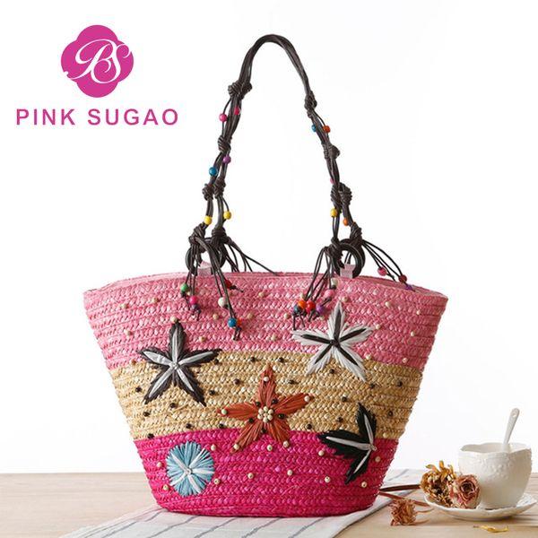 pink sugao designer handbags women handbag designer luxury handbags purses shoulder bags handmade straw bag hand embroidery handbag starfish (410654175) photo
