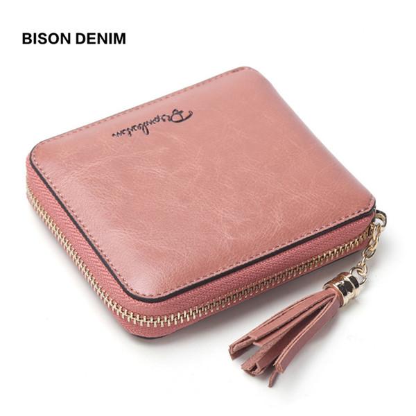bison denim femmes porte-monnaie en cuir de vachette véritable femmes portefeuille tassel zipper purse photo slot de luxe portefeuille n9336 (484893004) photo