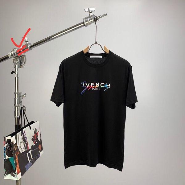 20ss Luxury Men Women T-shirt Tops Paris Embroidery Signature Multicolored T Shirts Fashion Designers Men Clothes Cotton Tee JD9579