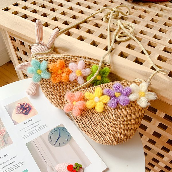 kids mini purses and handbags straw 2020 summer baby girl flower rattan small coin wallet bag toddler money change purses (536383405) photo