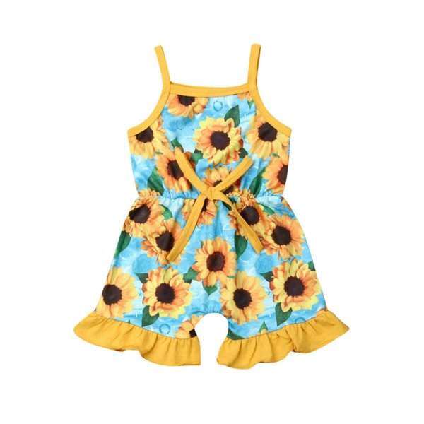 uk toddler kids baby girls sunflower clothes sling romper jumpsuit summer outfit