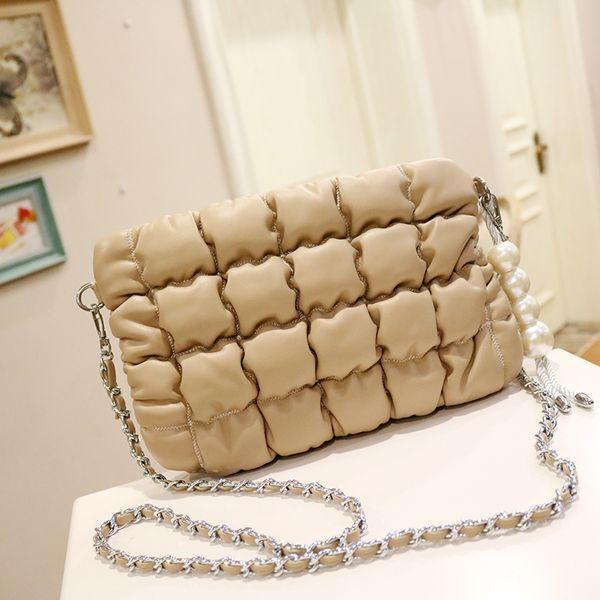 women totes flap women pearl shoulder bags 2019 new plaid purses handmade handbag mini black beige clutches crossbody bags (503765571) photo