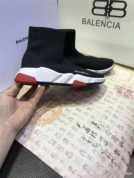 Мужские / женские кроссовки NO.1Balenciaga Speed Knit Trainers Design Черно-белые стрейч-сетки Вы