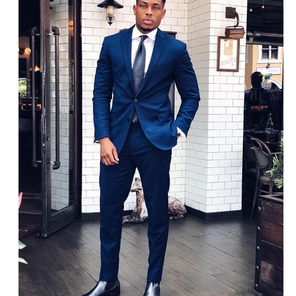 2 Pieces Navy Blue Business Suit Groom Tuxedo Mens Wedding Suit for Groom Jacket+Pants Custom Made Groomsmen Best Man Suit