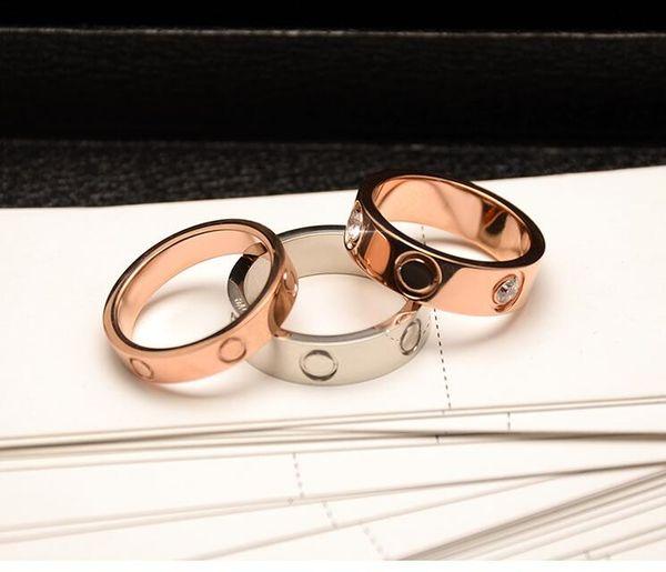 Мода 316L Титановые стальные гвозди кольца камень Группа Кольца Размер для Женщин и Мужчин ювелирные изделия бренда Розовое золото цвет Размер 6 - 10