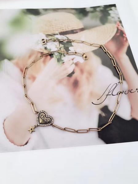 Новые высокое качество роскошный дизайнер ретро дизайн колье Сердце звезда кулон ожерелье для женщин CA05