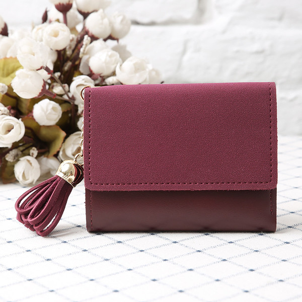 women new fashion retro purse soft pu leather buckle short coin purse card holder girl simple tassel color matching clutch (516781864) photo