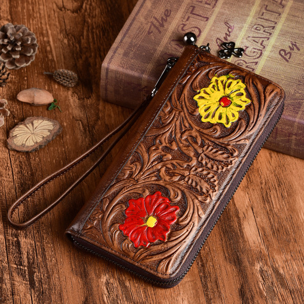 johnature handmade embossed large clutch wallet 2020 new retro genuine leather womens wallets and purses cowhide female purse (520623546) photo