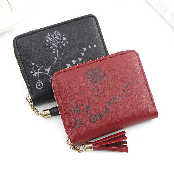 short women's purse women's handbag embroidered purse with zipper little girl's change bag card holder (538940130) photo