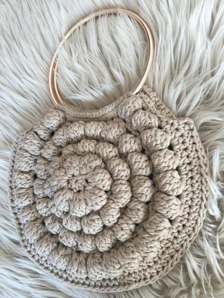 ulla johnson lia tote inspired crochet bag, tote with metal gold hoop handles, circular bag, bubble flower bag,circle purse (519404824) photo