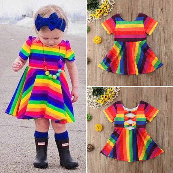 1-6 year girls colorful dress 2019 new rainbow kids baby girl short sleeve backless party gown formal dress sundress