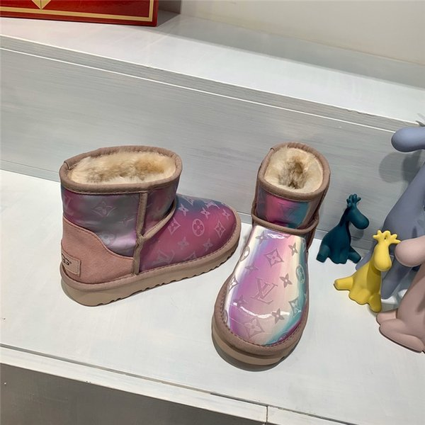 Hot Sale-rt Snow Boots Waterproof Denim 5D Magic Color Fabric Warm Cotton Shoes Women Non-Slip Windproof Cotton Boots