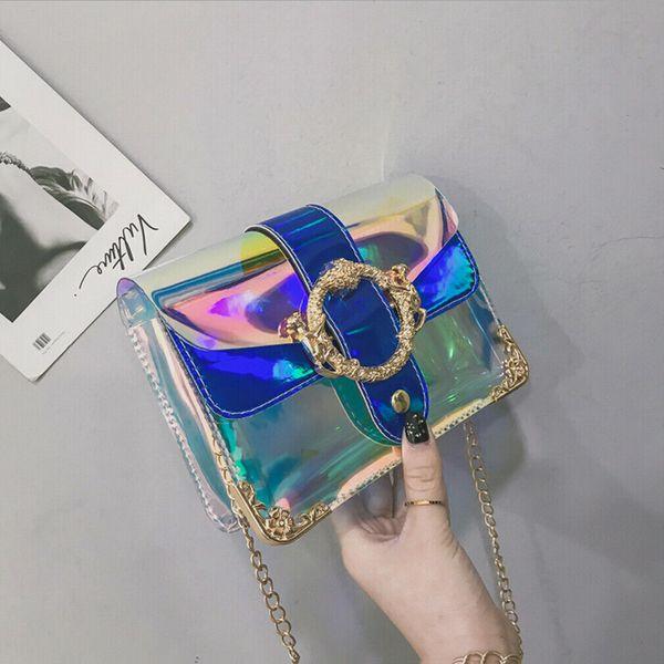 women pvc mini chain bag fashion transparent clear tote shoulder crossbody handbag purse jelly purse wallets handbag satchel new (496704899) photo