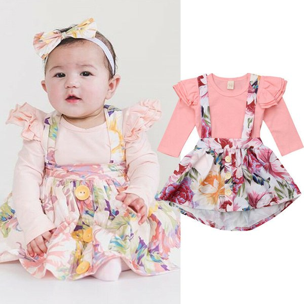 pudcoco 2019 baby girl clothes newborn for female outfit infant clothing set long sleeve bodysuit + skirt overall suit 0-24m