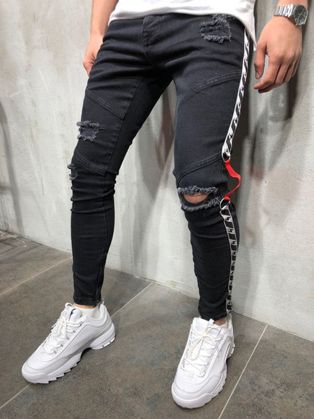 Fashion-Mens Black 19ss Biker Jeans Ripped Distressed Spring Summer Pencil Pants Hombres Jean Pantalones