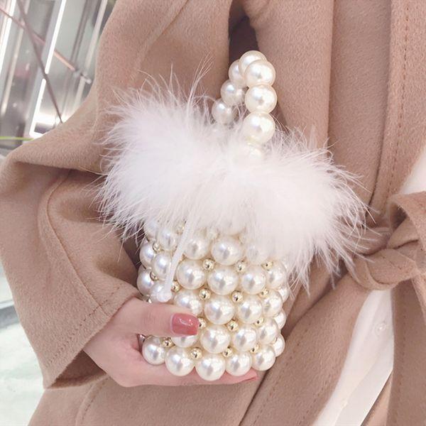 women handmade pearl bags ostrich bucket bag totes handle beaded handbags bride bag purses evening party clutches (501966832) photo