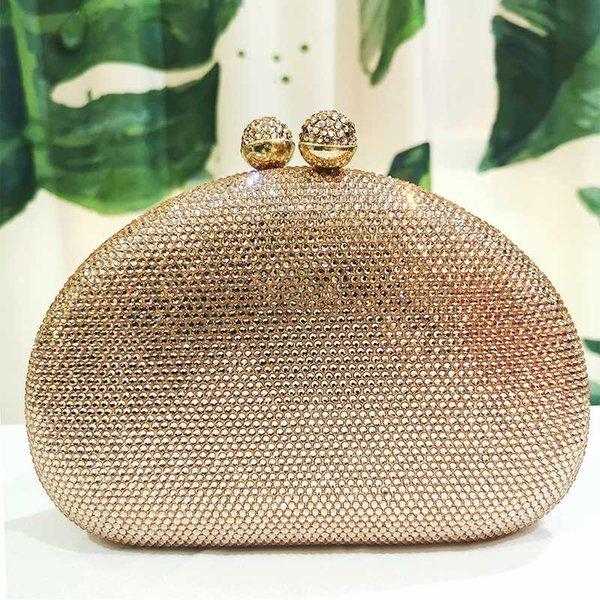 champagne color crystal handbags women evening diamond clutches party purses fashion ladies wedding chain purses (537129948) photo