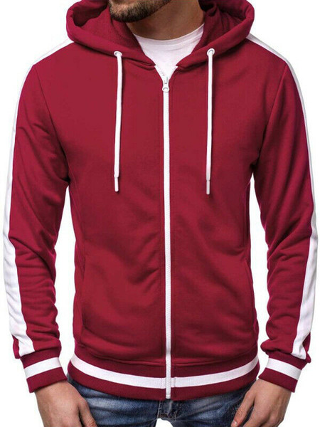 fashion men`s pullover hoodie sweatshirt casual long sleeve brushed fleece hoody zip up hooded jacket