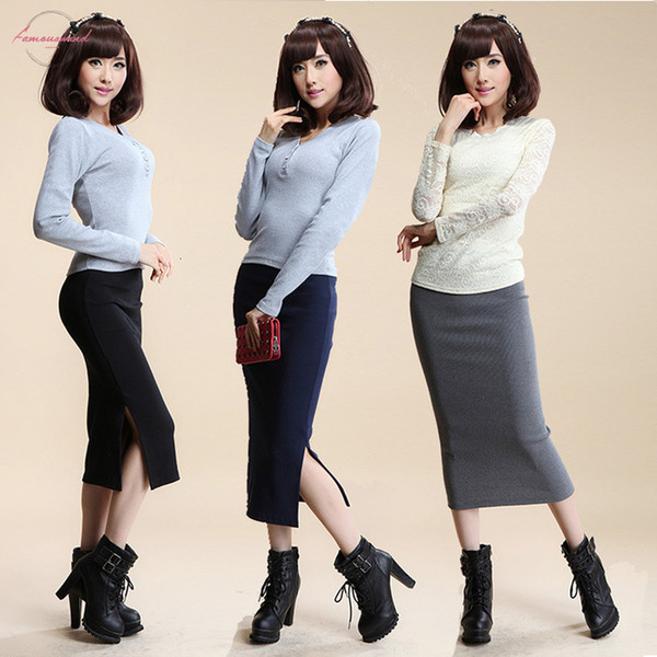 2016 Autumn Winter Women Skirt Wool Rib Knit Long Skirt Faldas Package Hip Split Skirts D919