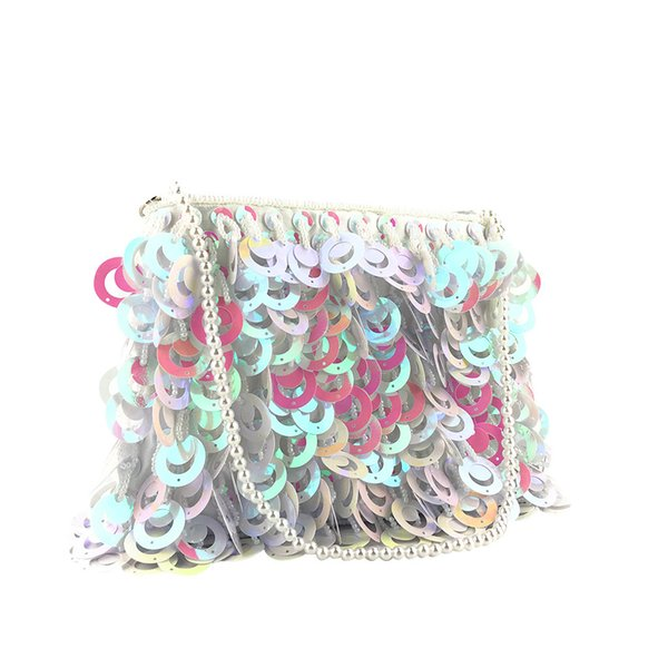 evening beaded bags sequins silver wedding bags for women messenger party handbags elegant handmade clutch purses summer#35 (507851397) photo