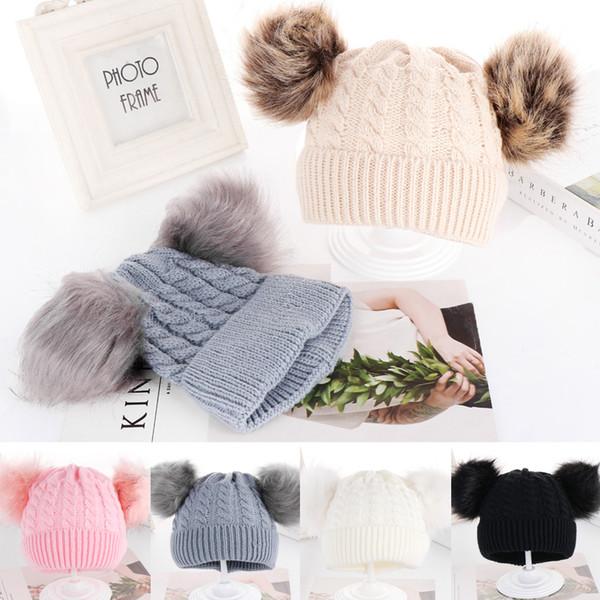 new kid child baby boys girls beanie hat cap winter warm double pom pom bobble autumn knit 0-24 months