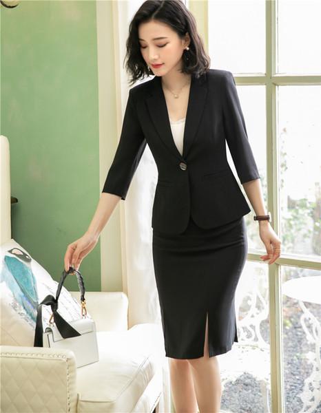 Весна лето формальные дамы черная юбка костюмы для женщин деловые костюмы блейзе фото