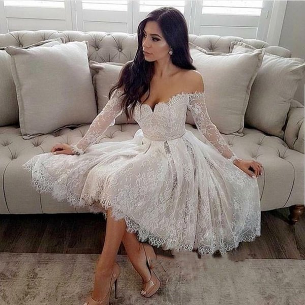Modest Sheer Long Sleeve Off the Shoulder Homecoming Dress 2019 Lace A Line Short Appliqued Cocktail Prom Dresses BA9932