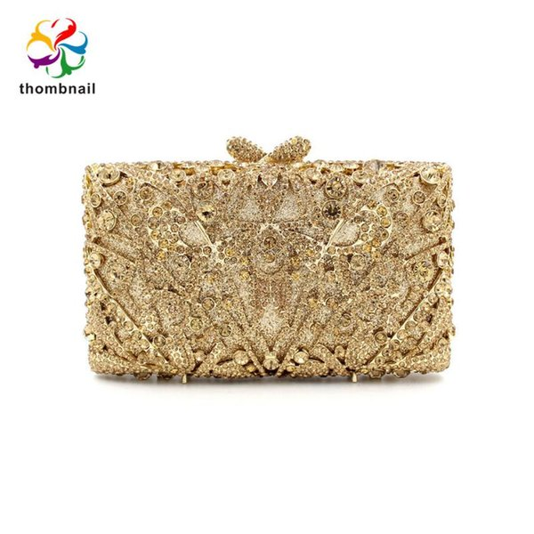 2020 gold luxury women handbag diamonds evening party purse bridal wedding shape clutch ladies purse (552012930) photo
