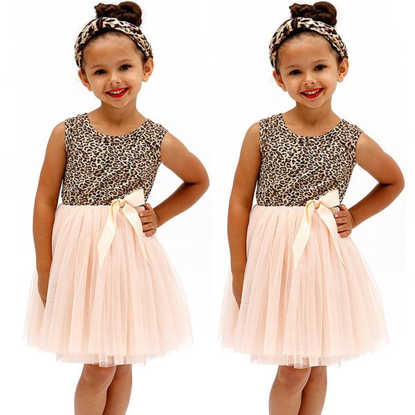 2016 девушки летнее платье детские дети O-образным вырезом без рукавов девушки Леопард печатный бантом пачка платье тюль Принцесса платье девушки фантазии фото