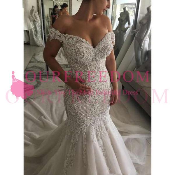 Luxurious Sexy Mermaid Wedding Dresses Off Shoulder Pearls Crystals Court Train Dubai Arabic Wedding Dress Bridal Gowns 2019