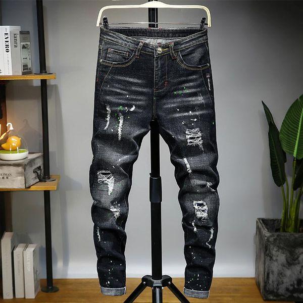 Мужские роскошные дизайнерские джинсы джинсы, квадратные джинсы, мужские духи, мотоцикл рыцари черный высокой талии узкие джинсы. фото
