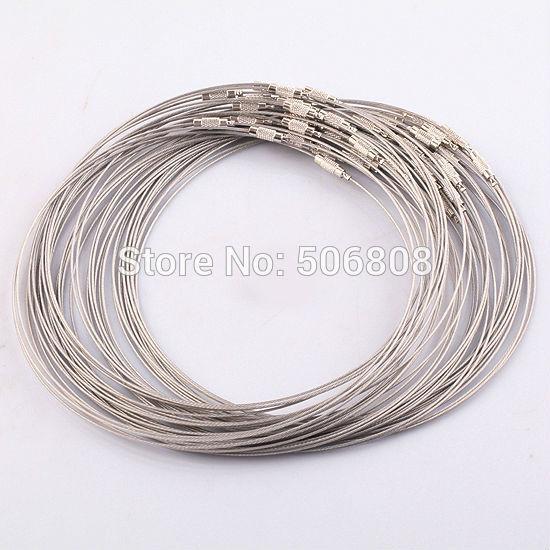 Оптовая продажа-100шт 1мм 18 дюймов Серый из нержавеющей стали, проволока, ожерелье, фото