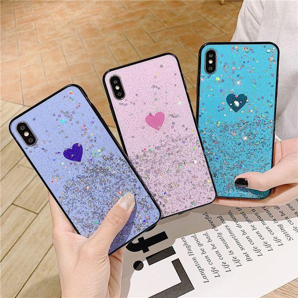 Heart pattern bling gold foil phone ca e for iphone x x  max xr glitter ca e for iphone7 8 6 6  plu  fa hion tpu ca e  ca e a045