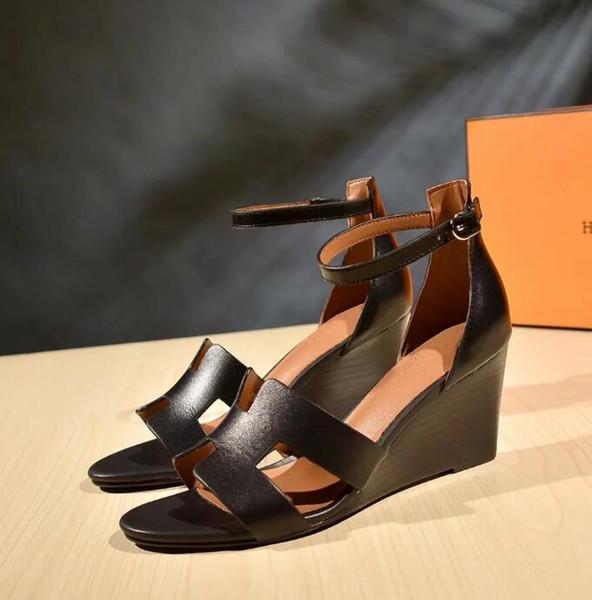 Лето горячие женщины сандалии дамы сексуальный высокий каблук клинья обувь Мода фото