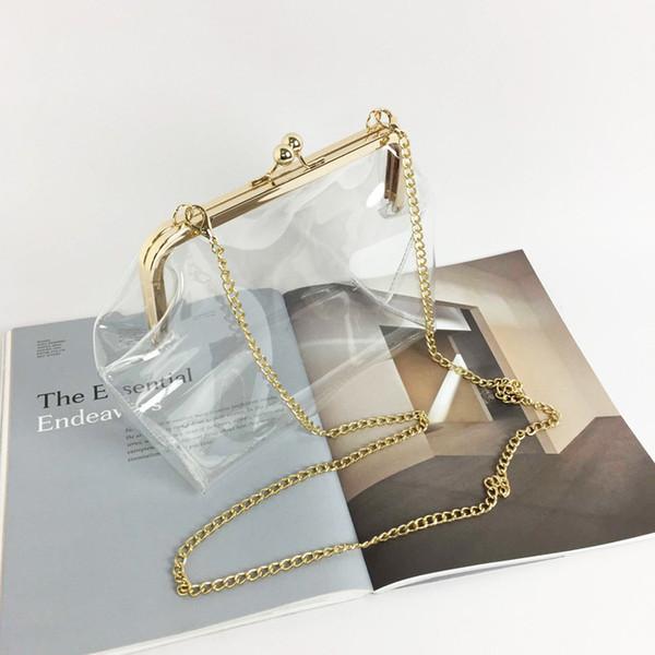 clear transparent pvc kiss lock chain cross body bag womens clutch clear purse (464846273) photo