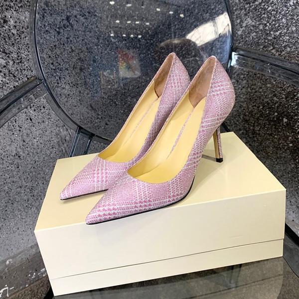 Бренд весна и осень неглубокие остроконечные кожаные рабочие одиночные туфли блестки женские OL туфли на высоких каблуках шпильках розовые свадебные туфли фото