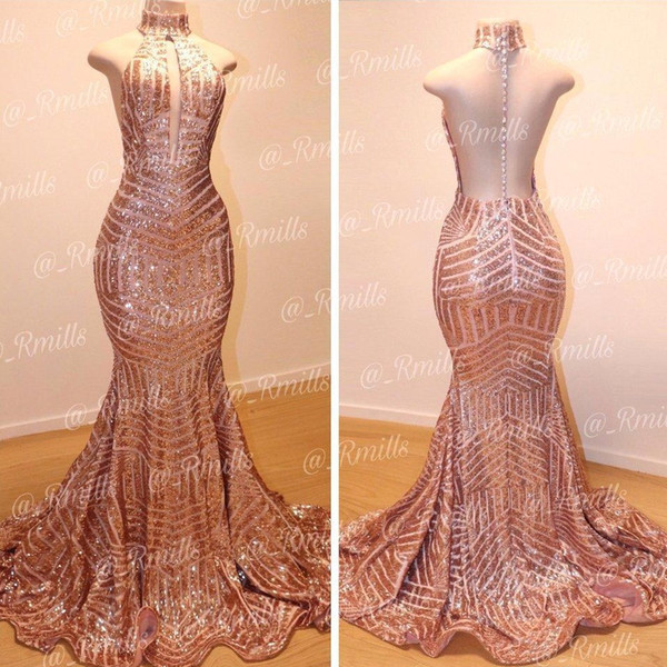 Sparkly Rose Gold Sequins Mermaid Prom Dresses 2019 Keyhole Neck Sheer Back Court Train Evening Gowns Women Formal Party Dresses BC0561