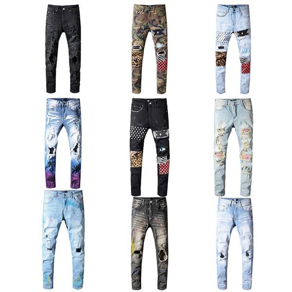 Wholesale Classic Miri Hip Hop Pants Jeans Designer Pants Aquaman Mens Slim Straight Biker Skinny Loophole Jeans Men Women Ripped Jeans