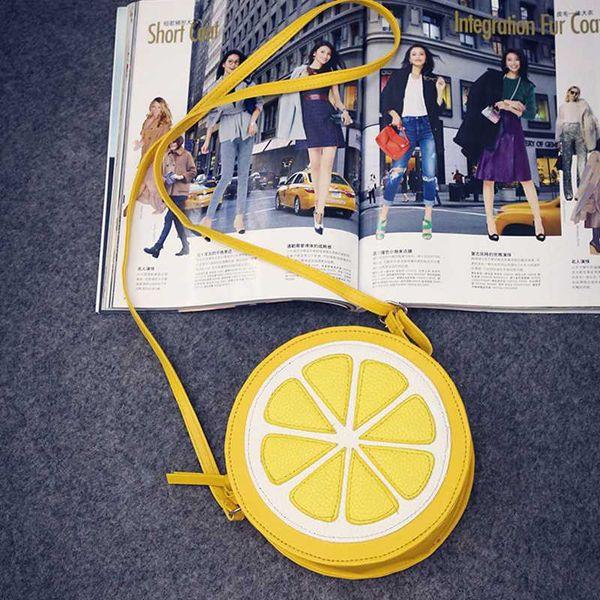 new arrival round lemon orange pattern zipper crossbody women messenger bag satchel purse girl shoulder mini bag small round (549660032) photo