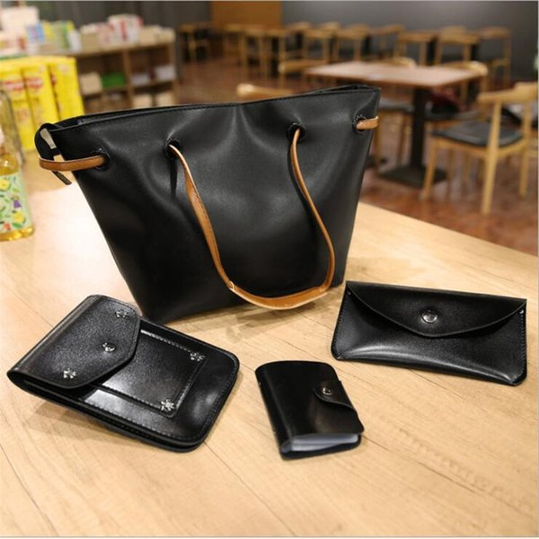 4pcs/set woman bag set fashion female purse and handbag four-piece leather shoulder bags messenger bag coin purse flap (548214307) photo