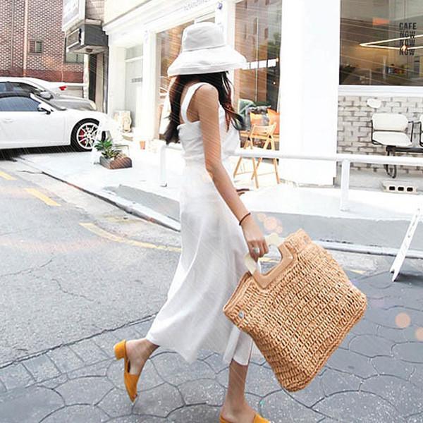 casual large capacity straw beach bag wooden handle handbags women handmade woven tote bags for women fashion summer bali purses (521680575) photo
