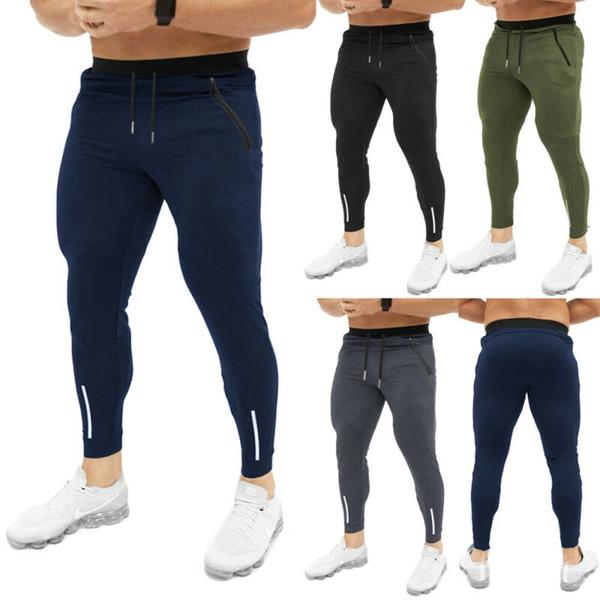 Новые мужские спортивные брюки тренировочные брюки мужчины Slim Fit спортивный костюм спорт тренажерный зал тренировочные брюки Брюки повседневные длинные брюки черный серый красный фото