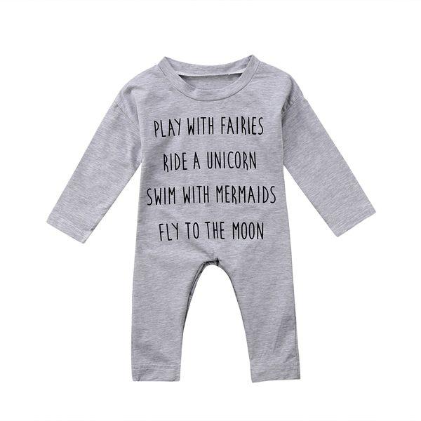 Милый ребенок малыш комбинезон хлопок с длинным рукавом новорожденный мальчик девочка топ комбинезон Комбинезон детский костюм хлопчатобумажная одежда наряд США фото